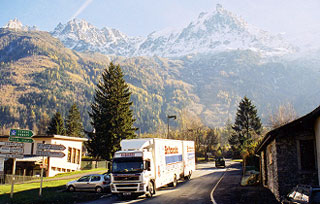 european part loads, britannia robbins lorry driving through the alps